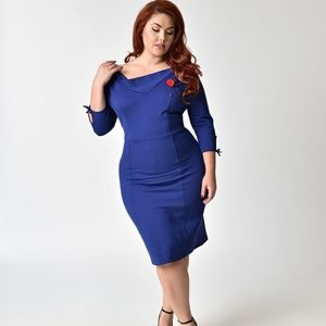 Unique Vintage Plus Size 1940s wiggle dress